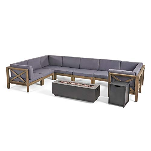 Great Deal Furniture Muriel Outdoor Farmhouse Acacia Wood 8 Seater U-Shaped Sectional Sofa Set with Fire Pit, Gray and Dark Gray