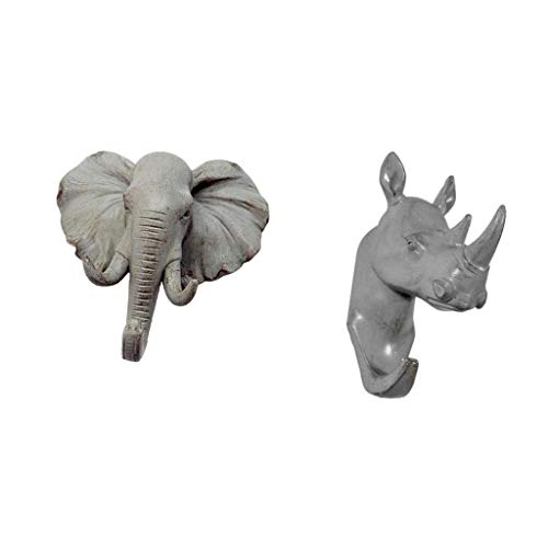 WEI-LUONG Ganchos de Cabeza de Rinoceronte de Elefante Gancho de Pared Individual/Percha de Abrigo Gancho con Gancho Decorativo