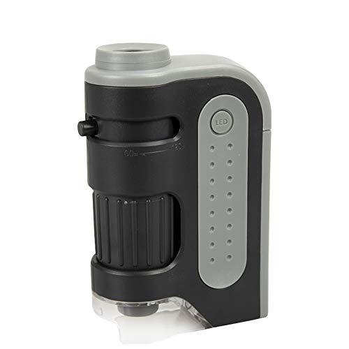 Langyinh Draagbare mini-microscoop 60X-120X vermogen led-verlichtingstas microscoop, laat je kind de wereld ontdekken