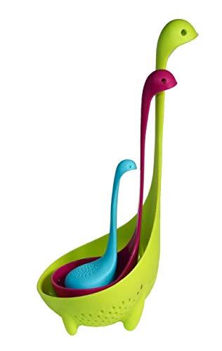 3 Stück Loch Ness Monster Großes Sieb, Dinosaurier Kreative Form Langer Griff Hals Niedlicher Ballkörper Loch Ness Monster Silikon Teesiebe