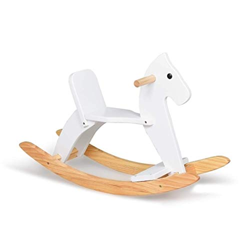 HEMFV Wooden Rocking Horse Chair for Toddlers, Kids Rocking Animals for Nursery and Playroom (Color : White)