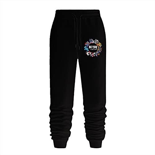LIANCHENYI Pantalones deportivos Lilo & Stitch.png para hombre, pantalones deportivos de corte entallado, pantalones de correr con bolsillos dobles, Negro, 27-32