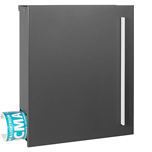 Briefkasten grau-eisenglimmer (DB 703) MOCAVI Box 110 MOCAVI Box 110 Postkasten mit Zeitungsfach groß Wand-Briefkasten mit Zeitungsrolle moderner Briefkasten rostfrei DIN A4