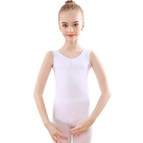 Maillot de Danza Gimnasia Leotardos de Ballet de Algodón sin Mangas para Niñas y Mujer Blanco 110