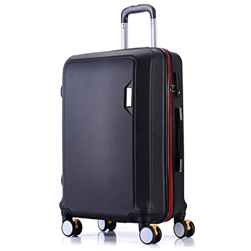 Valigia trolley in materiale ABS nero, rosso, elegante argento, verde menta, elegante blu, viola chiaro, rosa, oro rosa, 20', 22', 24', 26', 26', Nero (Nero) - GYTF612551246