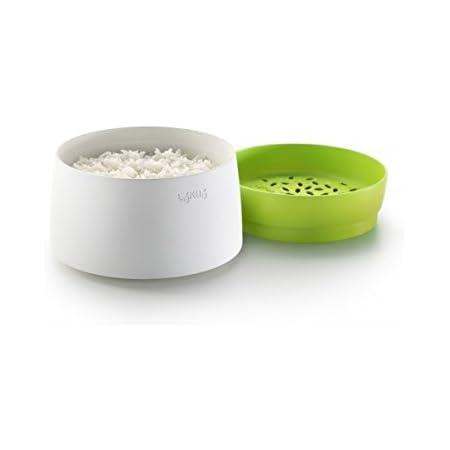 Lékué 0200700V06M017 Cuisinière pour Le Riz en Vert/Blanc, Plastique, 45x35x25 cm