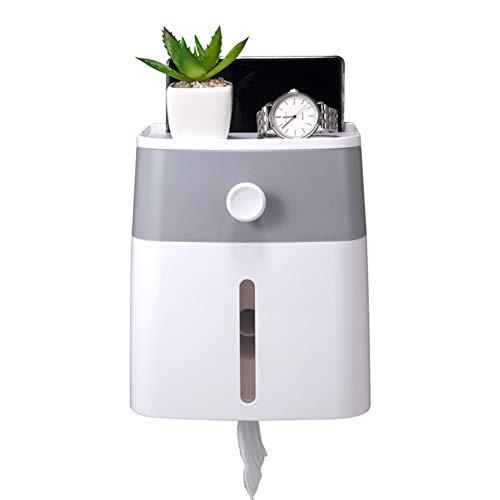 ZLASS An der Wand montierter Toilettenpapierhalter, wasserdichte Tissue-Aufbewahrungsbox (mit Regal und Schublade), lagerfreies Aufbewahrungsregal für Badezimmer