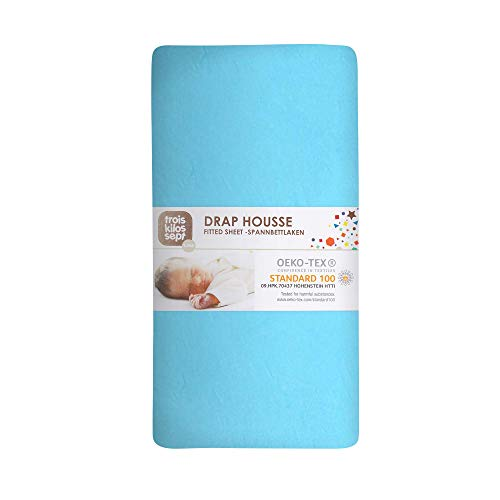 TROIS KILOS SEPT - Drap Housse Bébé - 70x140 cm - 100% Coton - Label OEKO-TEX - Jersey Extensible - Turquoise