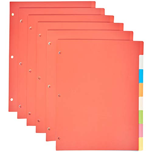 Amazon Basics 3 Ring Binder Dividers with 8 Tabs, Pack of 6 Sets