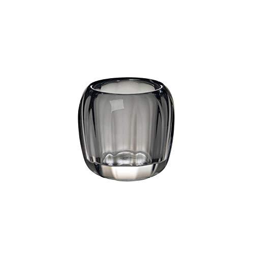 Villeroy & Boch - Teelicht Cosy Grey, dekoratives Windlicht für Innen und Außen, Kristall Glas, klar/grau, Handreinigung