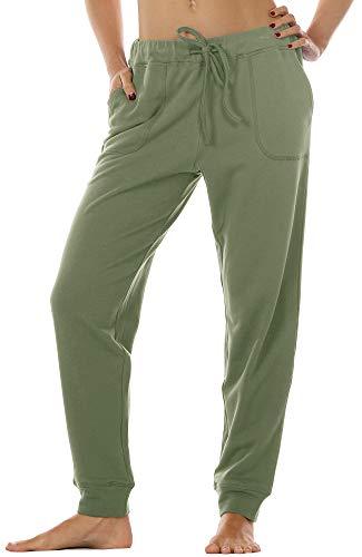 icyzone Damen Hose Jogginghose Lang Sweathose - Sporthose Trainingshose Running Gym Pants (S, Olive)