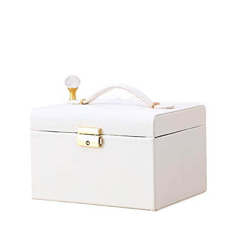 Redsheep Joyero de cuero de gama alta para joyas con cajón y pendientes, caja de almacenamiento para anillos, color blanco, 18,5 x 15,5 x 12,5 cm