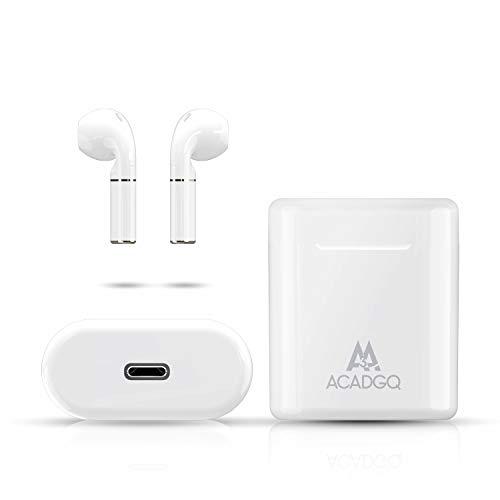 Draadloze Hoofdtelefoons, True Wireless/HiFi Stereo Geluid/Smart Touch Oor Telefoons Bluetooth Hoofdtelefoons Oordopjes In-Ear, 24 Playtime Draadloze headset geschikt voor Bluetooth-apparaten en werk/reizen/gym(wit)