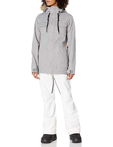 Volcom Women's Shadow Insulated Snowboard Ski Winter Hooded Jacket, Heather Grey, Medium