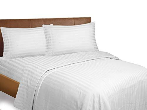 900 Thread Count 1PCs Duvet Cover Stripe (White, Euro King IKEA size) 100% Egyptian Cotton Premium Quality