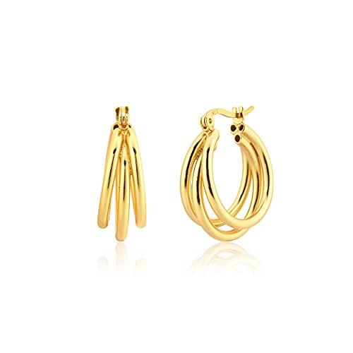 Pendientes Mujer Primavera 925 Plata De Ley Oro Tres Círculos Aros Grandes Piercing Pendienteloops 20 Mm Joyas Huecas Más Gruesas Grandes Gold