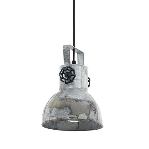 EGLO Pendellampe Barnstaple, 1 flammige Vintage Pendelleuchte im Industrial Design, Retro Hängelampe aus Stahl im Zink Used-Look, Farbe:  braun-Patina, schwarz, Fassung: E27