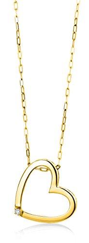Miore Anhänger Kette mit Herz Gelbgold 18 Karat / 750 Gold Diamant Brilliant 45 cm