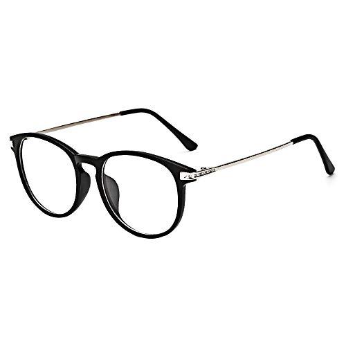 BOZEVON Gafas Falsas para Mujeres Hombres - Gafas de Sol Sin Receta Clásicas Ultraligeras Montura Gafas Vintage Lentes Transparentes para Mujeres y Hombres, Arena Negra B, No es luz azul