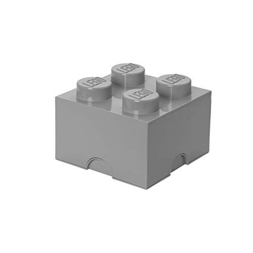 Room Copenhagen-40031740 Ladrillo de Almacenamiento de 4 espigas de Lego, Caja de almacenaje apilable, 5,7 l, Gris, Color Medium Stone Grey 40031740