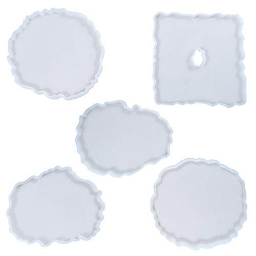 Yolistar Pack de 5 Moulle Silicone Resine Epoxy, DIY Coaster Mold,Résine Moules DIY Effacer Silicone Résine Époxy, pour la Fabrication de sous-Verres, Tapis de Bol, décors