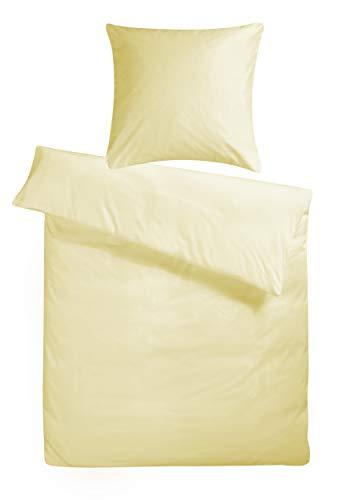 Carpe Sonno kuschelige Biber Bettwäsche 155 x 220 cm Uni vanille Creme Winter-Bettwäsche mit Reißverschluss aus 100{8fbab3a3657456bcff7fc85f131eecad2232cdbdf6f130b750ca1b22ce4cc95a} Baumwolle Flanell - 2-TLG Bettwäsche Set mit Kopfkissenbezug