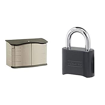 Rubbermaid Horizontal Storage Shed Small & Master Lock 178D Set Your Own Combination Lock 1 Pack Black