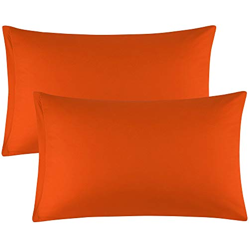 uxcell Zippered Standard Pillow Cases Pillowcases Covers, Egyptian Cotton 300 Thread Count, Pack of 2, Standard(20x26) Orange