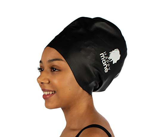 Happy Mane Silicone Swim Cap for Braids and Dreadlocks - Keeps Your Hair Dry While Swimming with Long Hair. Swim hat & Dreadlock Shower Cap- Large Swimming caps for Women, Men, Youth (XL Black)