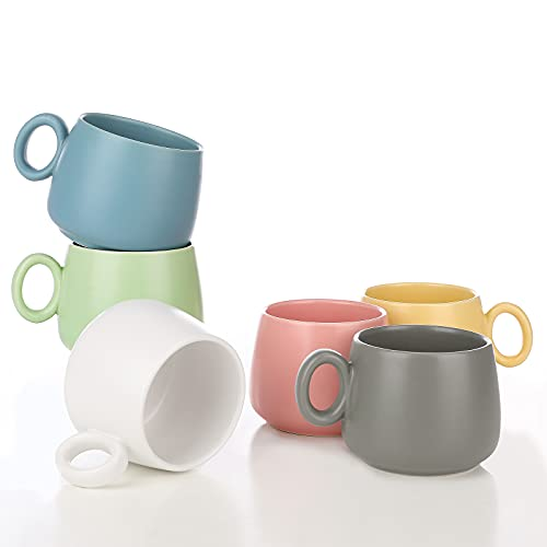 8.5 OZ Ceramics Coffee Mugs, Tea Cups Set of 6, Modern Ceramic Travel Mugs, Cute Pastel Color Mug Bulk - Birthday Gift, 6 PCS Home Office Simple Creativity Water Cup, Matte Mug 3D Tea Mug
