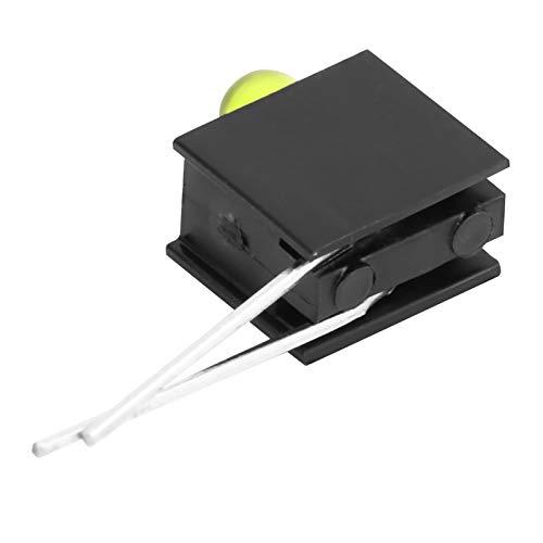 Diodos LED precableados 100 piezas diodos LED precableados de 3 mm, portalámparas de plástico, soporte de diodo, diodo emisor de luz negra de 3 Mm(Yellow light, Pisa Leaning Tower Type)