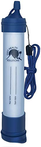 EHS Water Filter Straw Portable Personal Emergency Filtration Purifier for Camping, Hiking, Travel, Survival & Backpacking Gear, Filtering Solutions, Single Pack with No Tubing