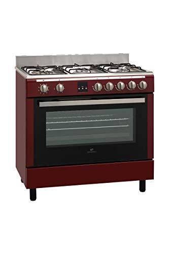 CONTINENTAL EDISON - Cuisiniere Piano gaz - Four Catalyse 101L - Affichage Digital - L 60 x H85 cm - Rouge Bordeaux