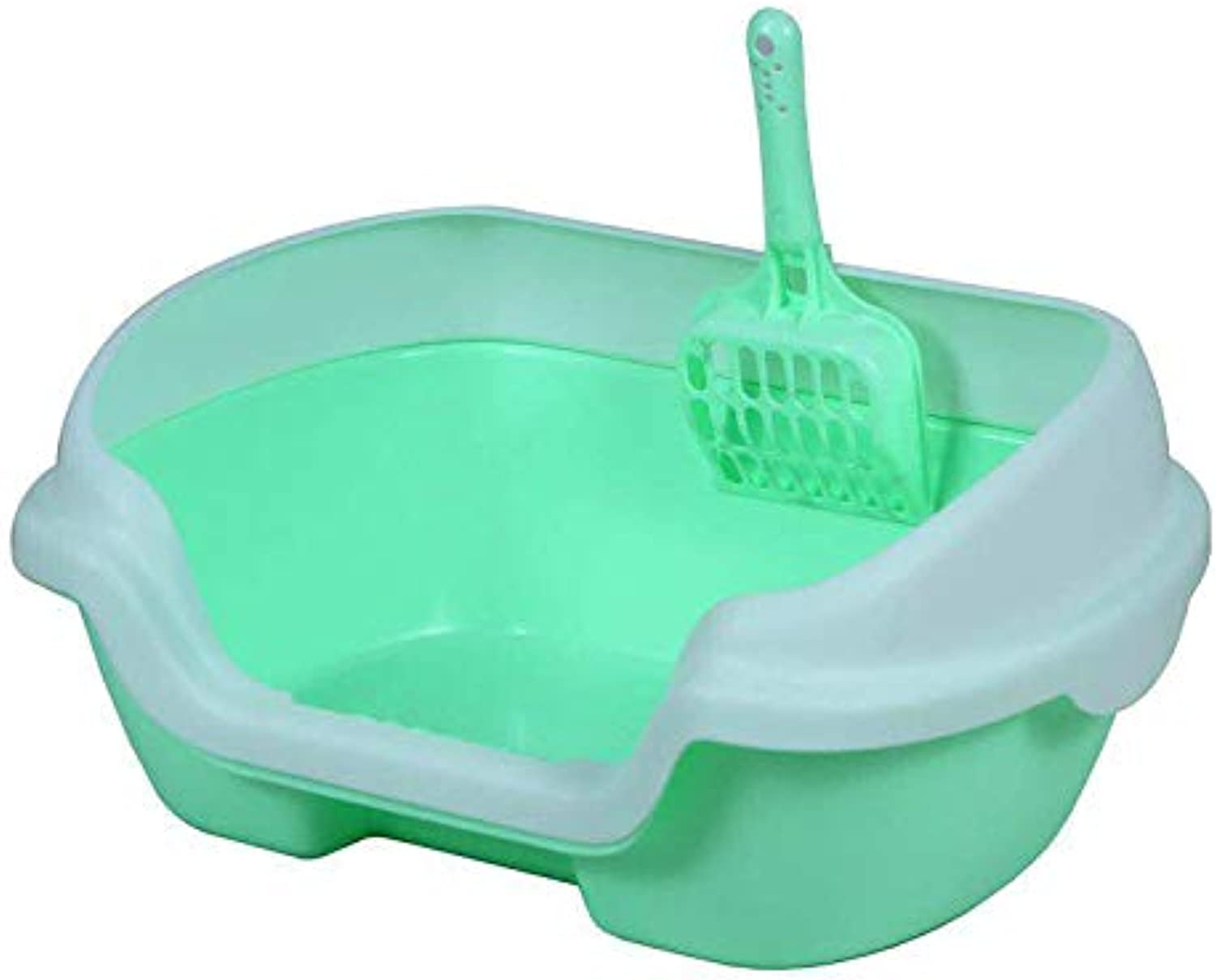 Pet Online Pet Cleaning Supplies Medium semiEnclosed cat Toilet Environmentally Friendly Easy to Clean Litter Box, 40×30×18cm, Green