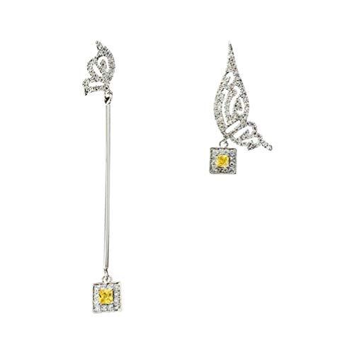 Pendientes Aguja Micro-Inlaid Asimétrico Alas S925 Francés Jeweled para Boda