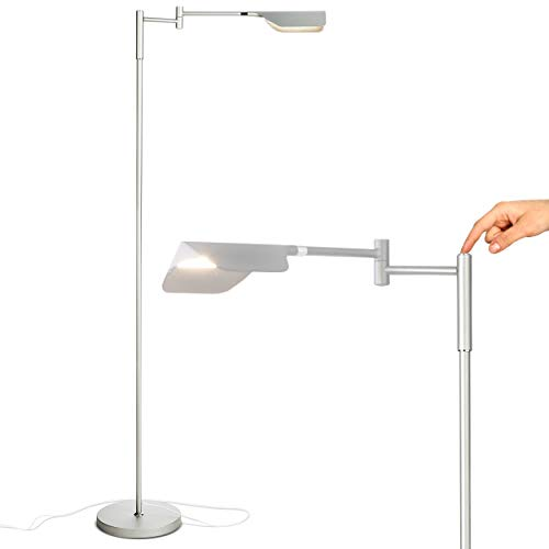Brightech Leaf - Adjustable Pharmacy LED Floor Lamp for Reading, Crafts & Precise Tasks - Standing Bright Light for Living Room, Sewing - Great Lighting for Office Desks & Tables - Platinum Silver