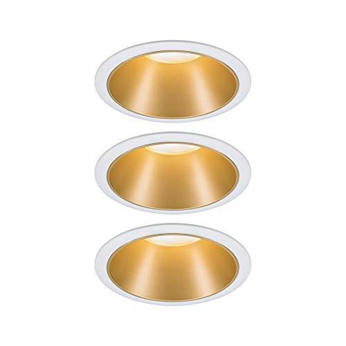 Paulmann 93406 LED Einbauleuchte Cole rund incl. 3x6,5 Watt dimmbar Einbaustrahler Weiß, Gold matt Einbaulampe Kunststoff, Alu Zink Deckenspot 2700 K