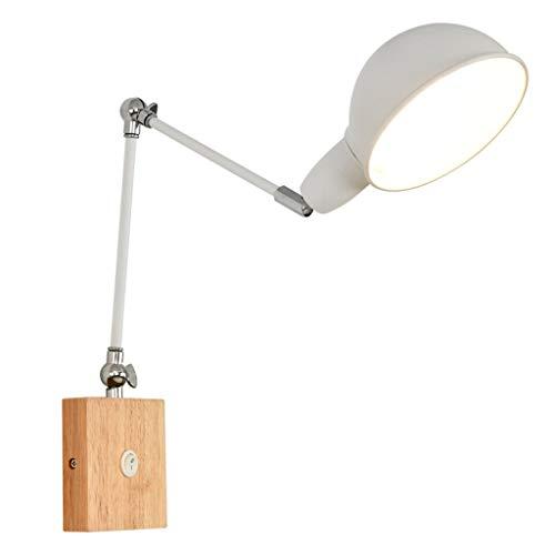 * E27 lange arm verstelbaar 180 graden van massief hout van rubber smeedijzer slaapkamer kantoor nachtkastje leeslamp wandlamp (wit)