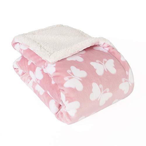 Life Comfort Ultimate Sherpa Baby Blanket, Fluffy Pink Butterfly Blanket for Baby Girl, Soft Warm Cozy Toddler, Infant or Newborn Blanket for Crib, Stroller, Travel, Nursery