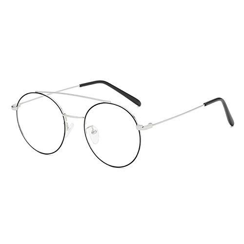 XWGlory Metall Runde Gläser Double Beam Brillengestell Klare Linse