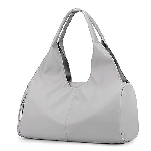 Sporttasche Reisetasche mit Schuhfach & Nassfach Wasserdicht Fitnesstasche Trainingstasche Weekender Damen Multifunktionale Handgepäck Tasche für Männer und Frauen(Grau)