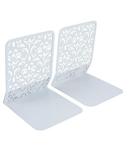 Buchstützen, Metall, 173 mm, strapazierfähig, mit herausgearbeitetem Blumenmuster, Design-Buchstützen für Regale weiß