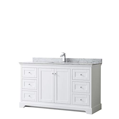 Wyndham Collection Avery 60 Inch Single Bathroom Vanity in White, White Carrara Marble Countertop, Undermount Square Sink, and No Mirror