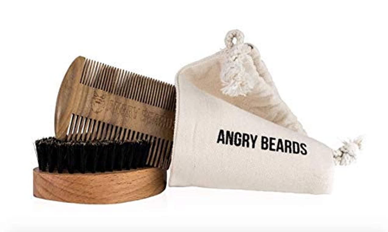 Wooden Beard Comb + Brush KIT by Angry Beards Made in Czech Republic?/ 木の髭櫛+ブラシキットチェコ共和国製怒っているひげによって