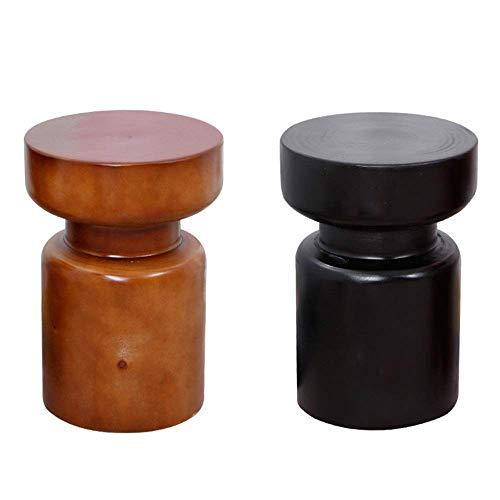 N/Z Home Equipment Zeitgenössischer Stil Rustikal Einzigartige Form Mokka Walnussholz Runder Beistelltisch Für Wohnzimmer Schlafzimmer Beistelltisch Schlafzimmer (Farbe: Schwarz Größe: 32x45cm)