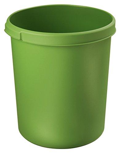 HAN Papierkorb Klassik 1834-05 in Grün – Großer & stabiler 30 Liter Mülleimer mit praktischen Müllkorb Griffmulden - für den Bürobedarf oder Zuhause