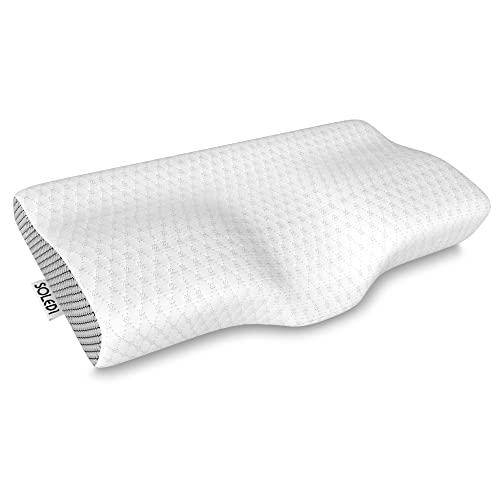 SOLEDI Almohada Cuello con Altura Ajustable Almohada Cervical con Memoria Diseño Ergonómico para Dormir de Lado Funda de Almohada Extraíble y Lavable