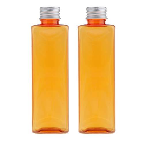 MagiDeal 2pcs 250ml Bouteilles de Voyage Vide en Plastique Liquide Conteneurs Flacons pour Maquillage Cosmétique, Articles de Toilette - Orange