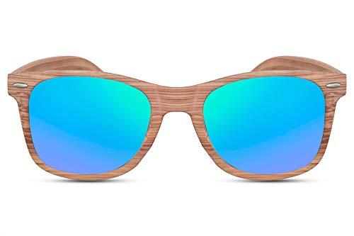 Cheapass Sonnenbrille Braun Eckig Grün-Blau Verspiegelt Holz-Muster Naturoptik Wood-en UV-400 Hipster Plastik Damen Herren
