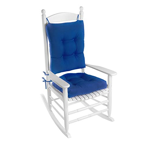 Klear Vu Indoor/Outdoor Rocking Chair Pad Set, Cushion seat Measures 19L x 18.5W x 3H, and Back Measures 20.5L x 18W x 3H, Blue